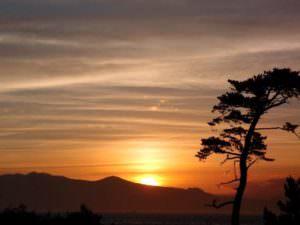 ペンション目の前の夕日